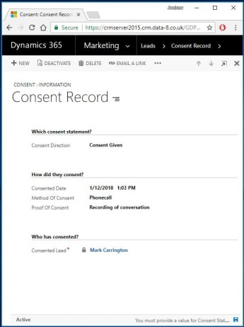 gdpr consent record screenshot